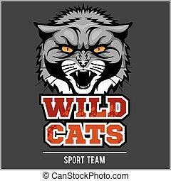 Wild cat head - design for logo and sport emblem