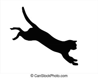 Wild cat jumping - Illustration of wild animal, family of...
