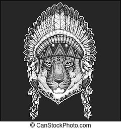 Wild cat Leopard Cat-o'-mountain Panther Cool animal wearing native american indian headdress with feathers Boho chic style Hand drawn image for tattoo, emblem, badge, logo, patch