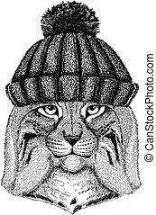 Wild cat Lynx Bobcat Trot Cool animal wearing knitted winter hat. Warm headdress beanie Christmas cap for tattoo, t-shirt, emblem, badge, logo, patch