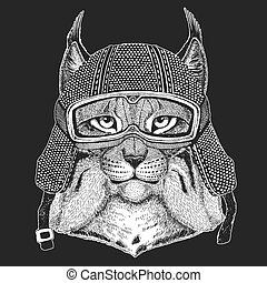 Wild cat, Lynx, Bobcat, Trot Vintage motorcycle hemlet. Retro style illustration with animal biker for children, kids clothing, t-shirts. Fashion print with cool character. Speed and freedom.