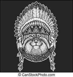 Wild cat Manul Cool animal wearing native american indian headdress with feathers Boho chic style Hand drawn image for tattoo, emblem, badge, logo, patch