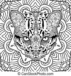 Wild cat on the background circular tribal pattern. Colroing page for adults. Line art