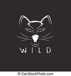 wild cat with eagle eyes vector design template