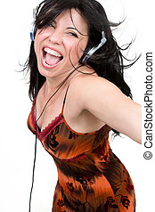 Wild child - Charismatic woman dancing and enjoying upbeat...