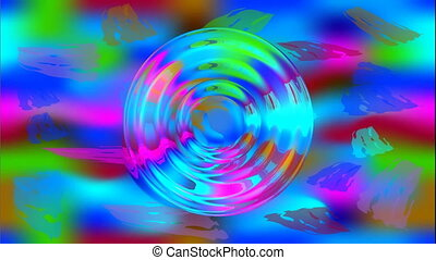 Wild colored psychedelic abstract video with moving circle shapes reminds colored jelly. Amorphous dense fluid moves on the colored background