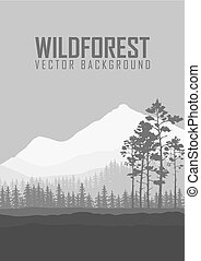 Wild coniferous forest flyer background. Pine tree,...