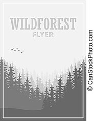 Wild coniferous forest flyer background. Pine tree,...