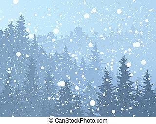 Wild coniferous snowy forest. - Vector illustration of wild...