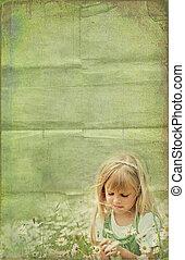 Wild Daisies - Little girl in a wild daisy field.