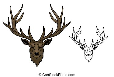 Wild deer animal mascot with antlers