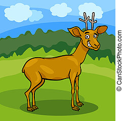 wild deer cartoon illustration - Cartoon Illustration of...