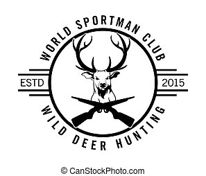 Wild deer hunting label badge