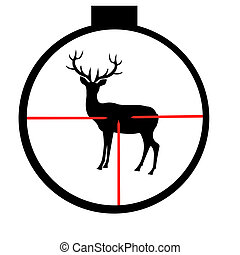 Silhouette of the wild deer through optical sight