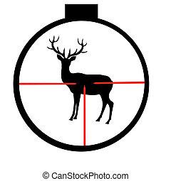 Wild deer in optical sight - Silhouette of the wild deer...