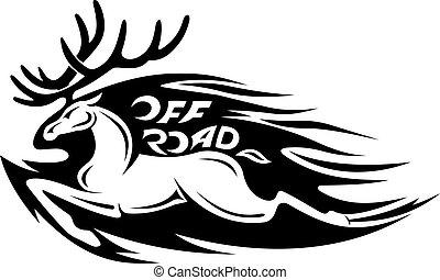 Wild deer in tribal style. Vector illustration