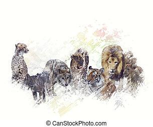 wild djur, vattenfärg