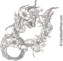 Wild dog rose flowers frame contour ink adult coloring page drawing vector clipart on white background.