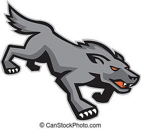 Wild Dog Wolf Stalking Retro - Illustration of a wild dog...