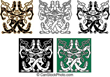 Wild dogs celtic knot ornaments