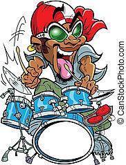 Wild Drummer - Crazy african-american urban drummer is a...