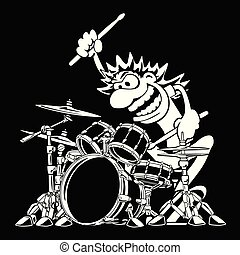 Wild Drummer Playing Drum Set Cartoon Vector Illustration