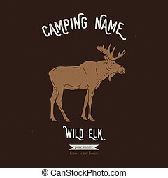 Wild elk vector illustration. European animals silhouettes with lettering chalk board. Camping logo gesign.