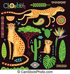 Wild exotic cats, tropical plants and ethnic patterns set. Cheetahs and their cub. Vector illustration of cartoon style