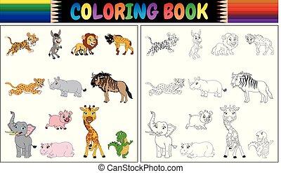 wild, färbung, tiere, buch, sammlung