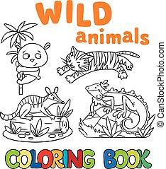 wild, färbung, tiere, buch