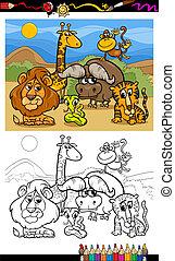 wild, färbung, tiere, karikatur, seite