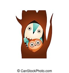 Wild family owl in forest, stay in tree hole
