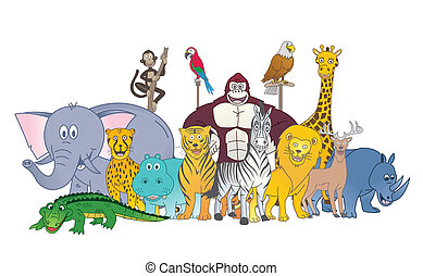 wild, farbe, gruppe, tier