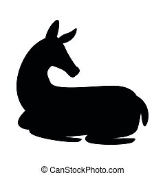 wild fawn animal silhouette nature icon vector illustration ...