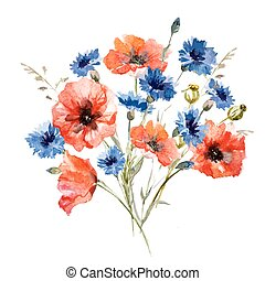 Wild flower bouquet - Beautiful image with nice watercolor...