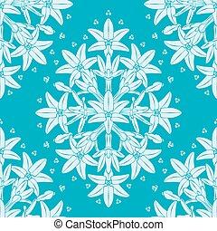Wild Flower Damask Seamless Vector Pattern
