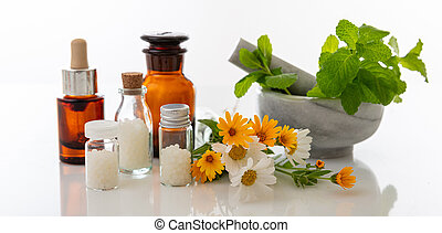 Wild flowers and herbs, mortar and pestle isolated on white background