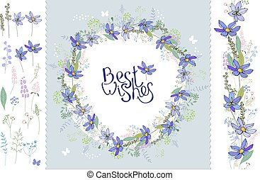Wild flowers hepatica. Floral elements for your design