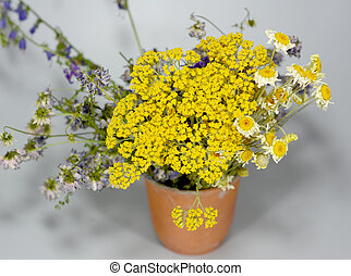 wild flowers in a ceramic cup