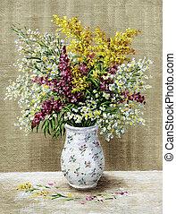 Wild flowers in a white vase