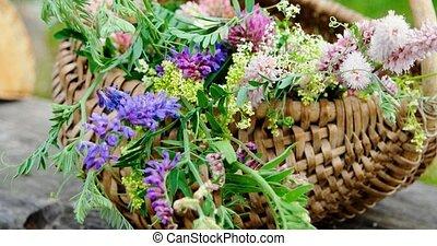 Wild flowers in a wicker basket