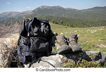 Wild flowers in walking boots - and backpack