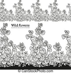 Wild flowers of the field seamless decorative border black and white