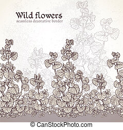 Wild flowers of the field seamless decorative border