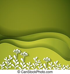 Wild flowers on green background