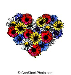 Wild flowers - poppy, chamomile, cornflower, daisy, heart shaped decoration element