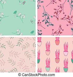 Wild flowers seamles pattern design set