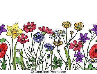 Wild flowers seamless border. Field of meadow herb floral vintage spring vector wallpaper