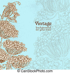 Wild flowers - umbrellas blue vintage background for your text