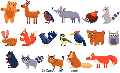 Wild forest animals set, cute cartoon bear, bird, hedgehog, wolf, raccoon, elk, deer, rabbit, squirrel, tit, woodpecker, owl, mole, wild boar, beaver, fox vector Illustrations
